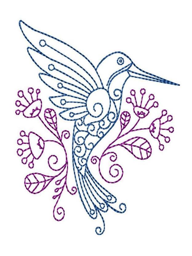 Простая схема шаблон Колибри с цветами