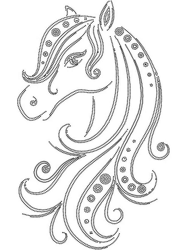 Простая схема шаблон Грива лошади