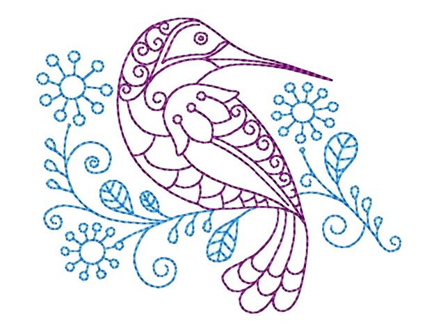 Простая схема шаблон Колибри на цветке