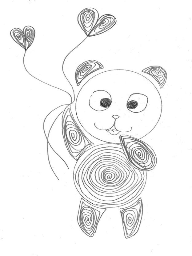 Простая схема шаблон для детей Медвежонок