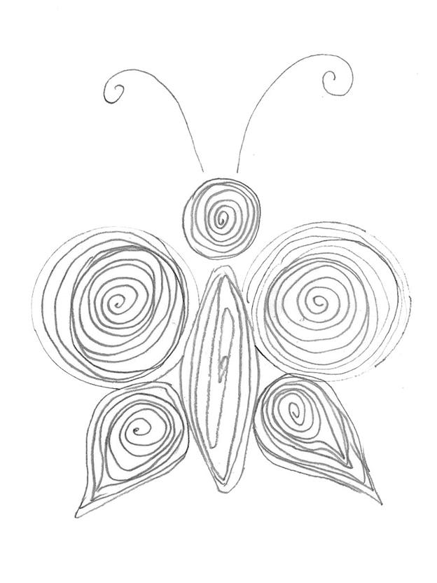 Простая схема шаблон для детей Бабочка