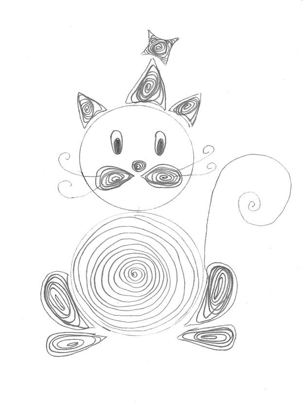 Простая схема шаблон для детей Котёнок
