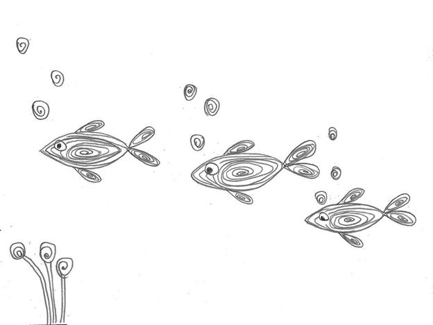 Простая схема шаблон для детей Рыбки