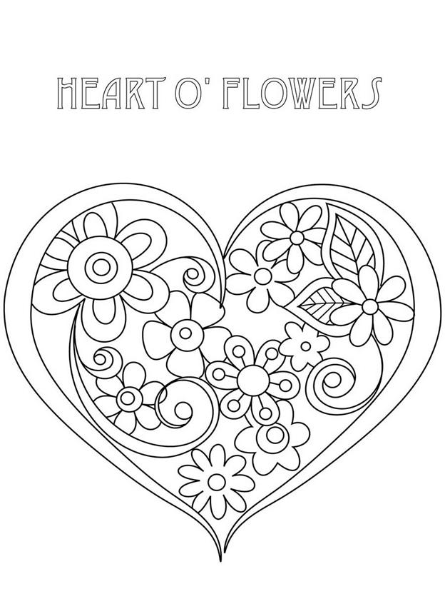 Схема шаблон Сердце в цветах
