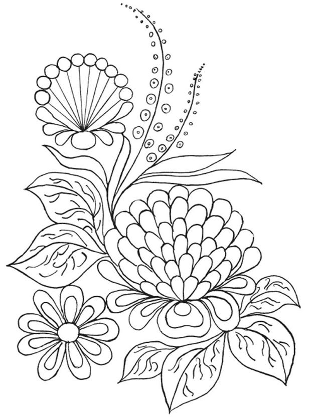 Схема шаблон Цветущие растения