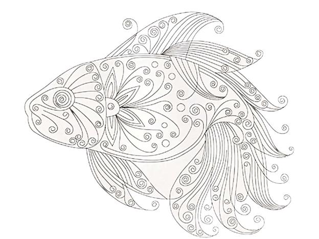 Сложная схема шаблон Золотая рыбка