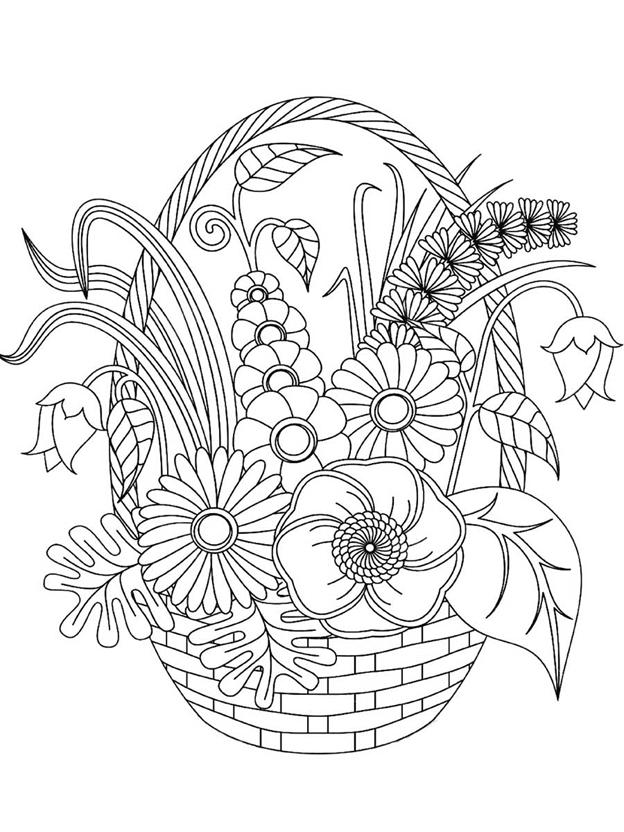 Сложная схема шаблон Корзина с цветами