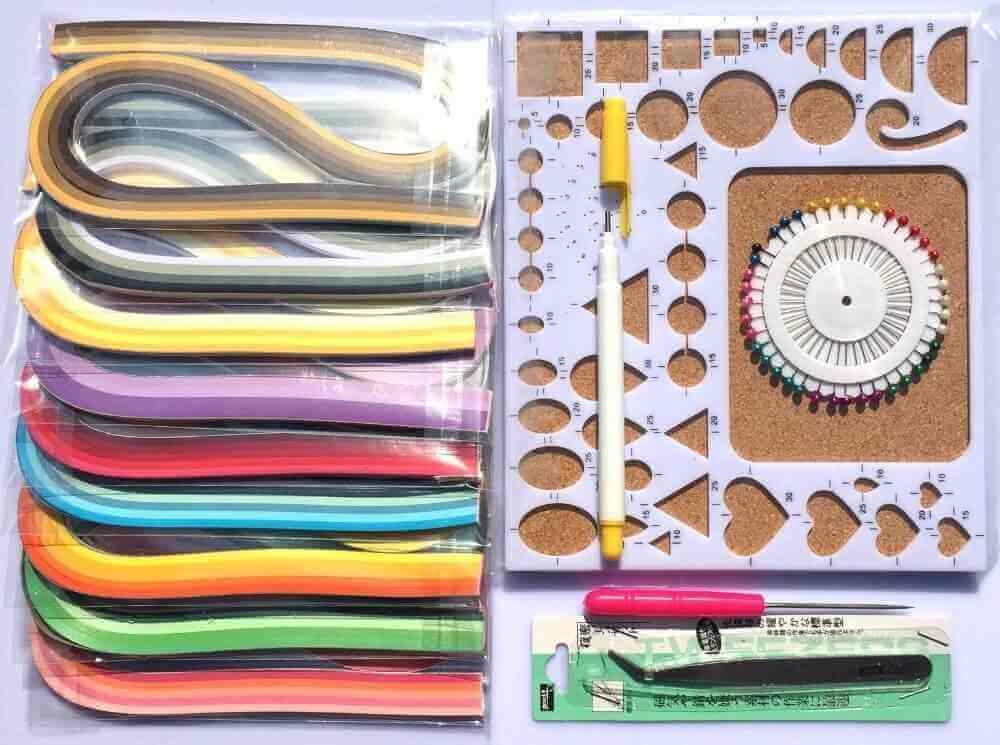 Набор для квиллинга с бумажными полосками инструментом и линейкой