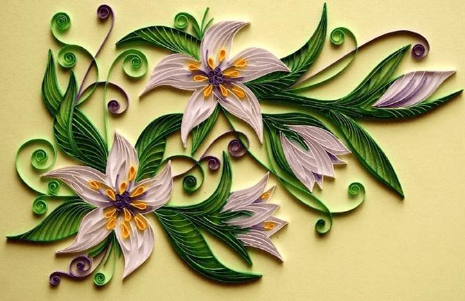 Цветочное панно в технике контурного квиллинга