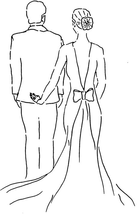 Схема контурного квиллинга пара мужчина и женщина