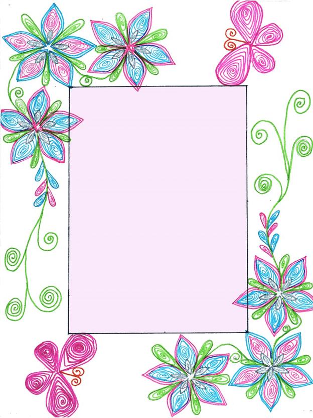 Схема шаблон бумажной рамки для фото с квиллинг элементами