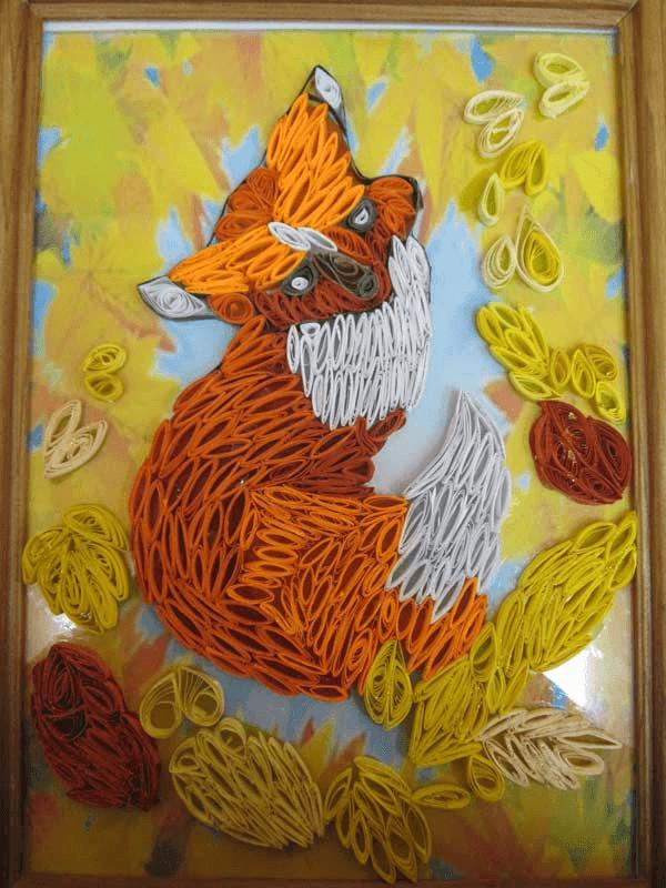 Малыш лисёнок осенью