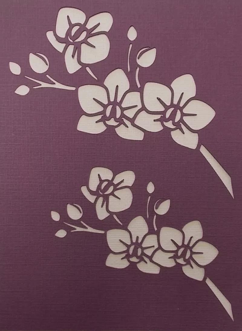 Схема шаблон объёмных бумажных цветов Орхидеи