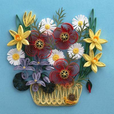 Букеты цветов в техниках квиллинга