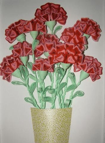 Гвоздики в вазе композиция из бумаги
