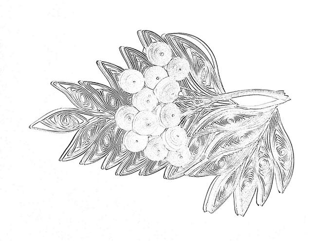 Схема шаблон бумажной грозди веточки рябоны