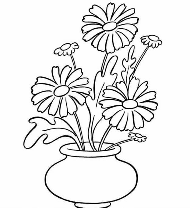Схема ромашек в вазе