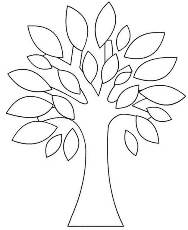 Схема шаблон для вырезания из бумаги дерево с листьями раскраска