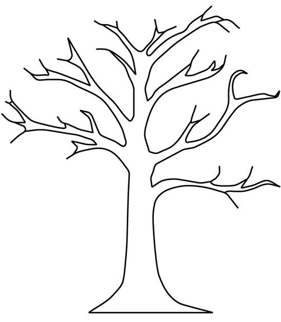 Схема шаблон для вырезания из бумаги ствол дерева без листьев раскраска