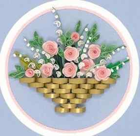 Аппликация плетёной бумажной корзины с цветами