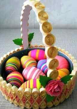 Бумажная лукошко в стиле технике квиллинга с пасхальными яйцами