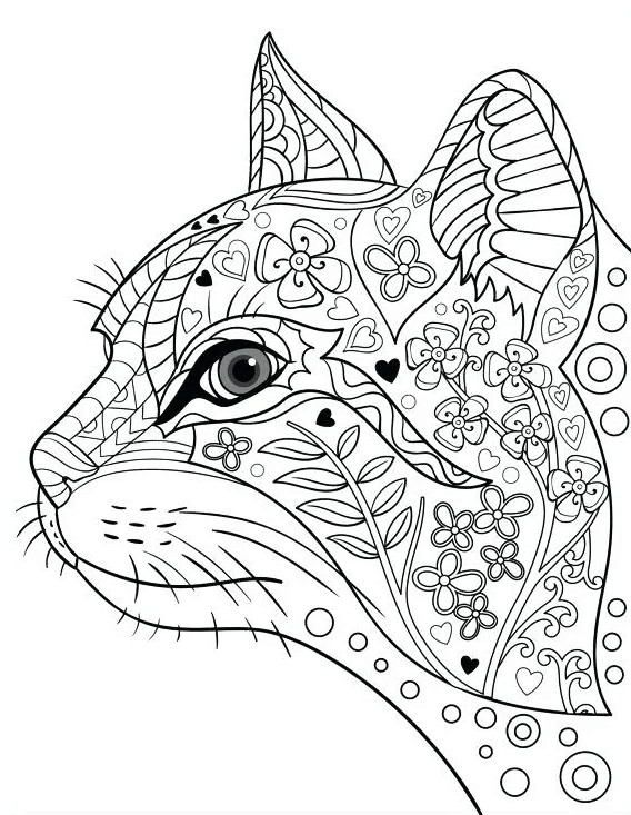 Сложная схема шаблон бумажной головы кошки