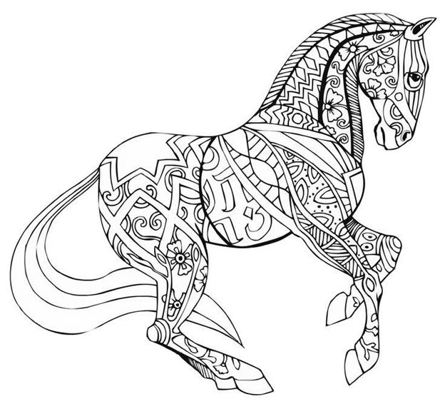 Схема шаблон бумажной лошади