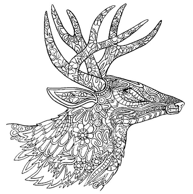 Схема шаблон бумажной головы оленя