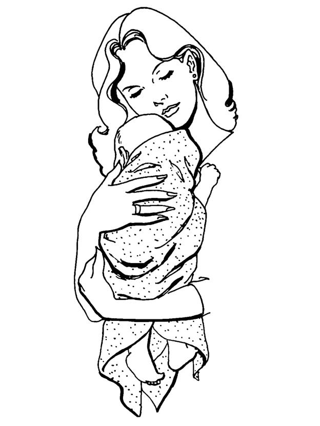 Схема шаблон бумажной мамы с младенцем