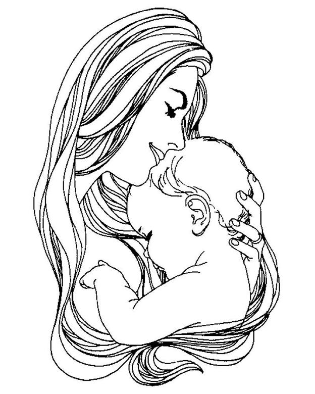 Схема шаблон бумажной мамы с ребенком