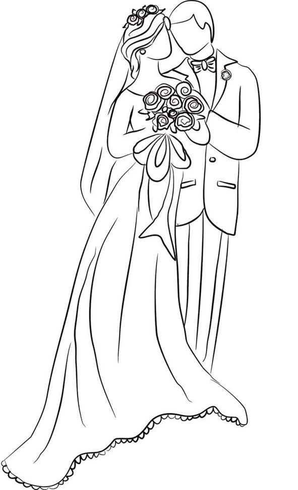 Схема шаблон бумажного свадебнай пары