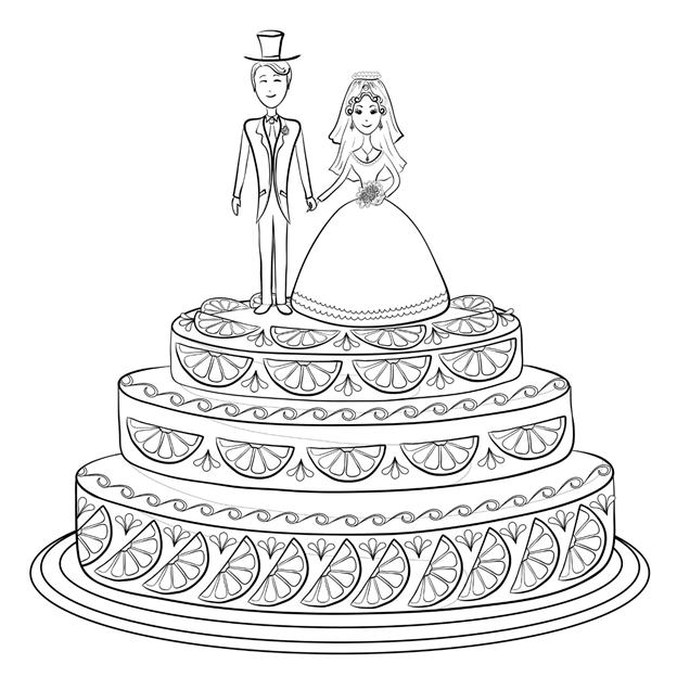 Схема шаблон бумажного свадебного торта