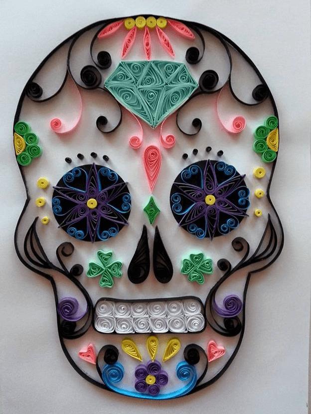 Схема шаблон разноцветного черепа