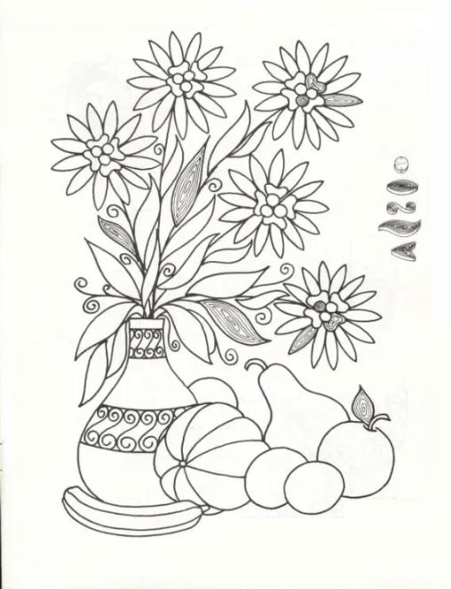 Цветы в вазе с разметкой