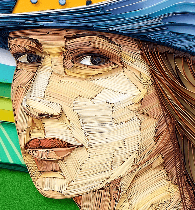 Работа Юлии Бродской портрет девушки в стиле квиллинга