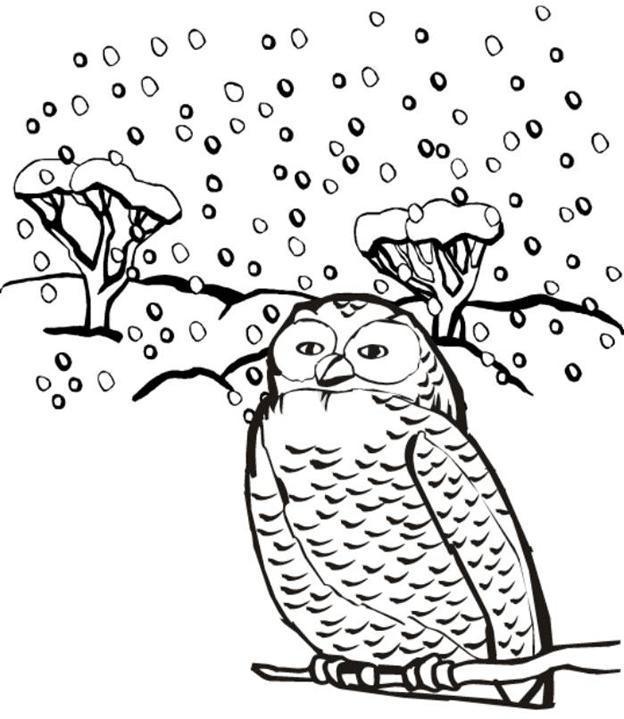 Схема шаблон бумажной совы в снеопад