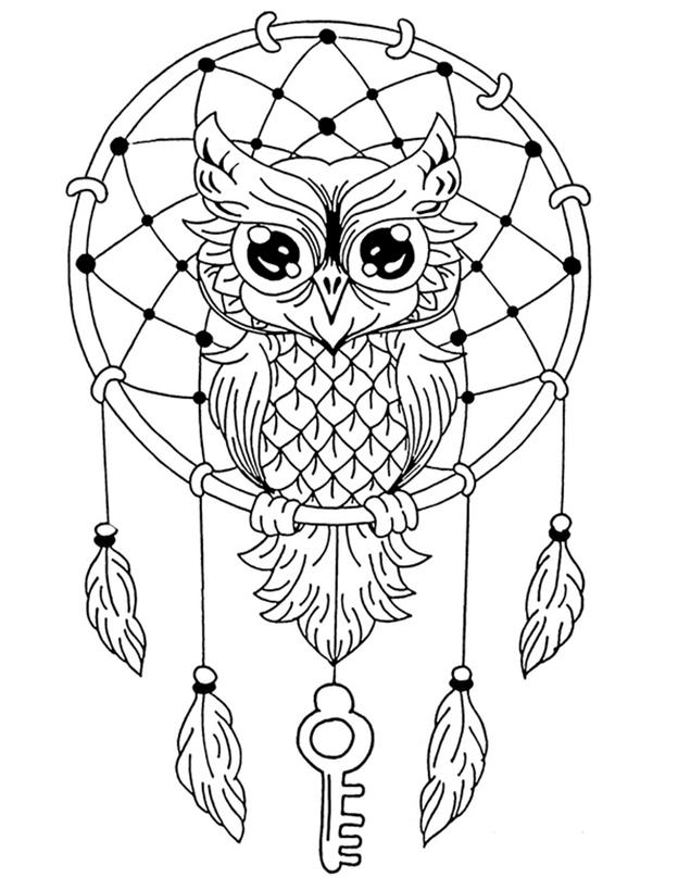 Схема шаблон бумажного ловца снов с совой