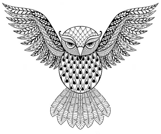 Схема шаблон бумажной совы с растопыренными крыльями