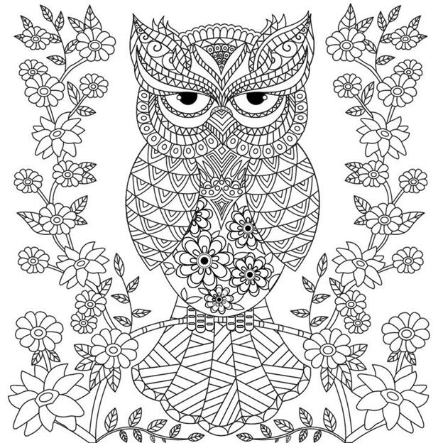 Схема шаблон бумажной цветочной совы на ветке