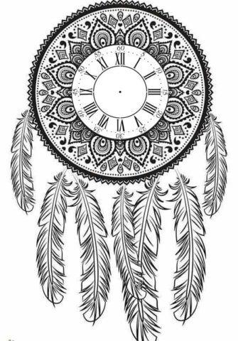 Сложная схема шаблон бумажный часов в виде ловца снов