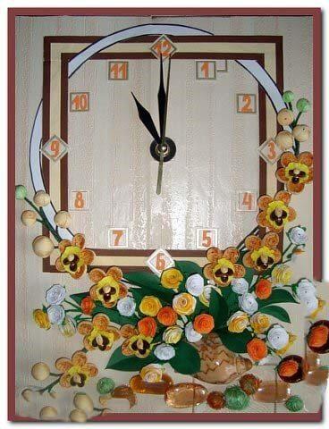 Пример квиллинг часов с оформленной рамкой