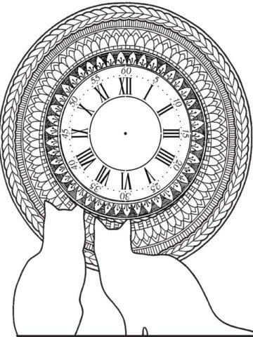 Схема шаблон оригинальных бумажных часов с кошками