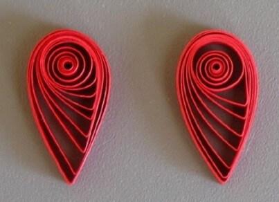 Квиллинг заготовки капли красного цвета