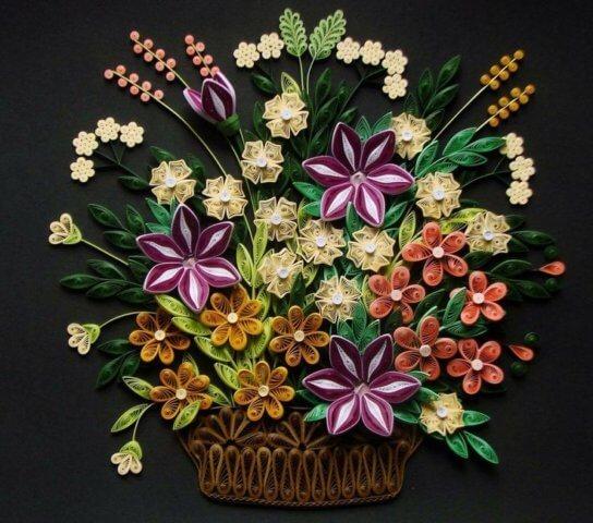 Картина с квиллинг цветами