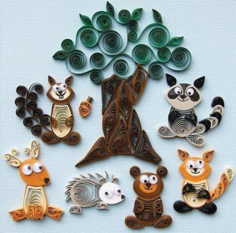Квиллинг-картина с изображением лесных жителей