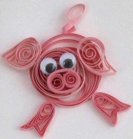 Пример готовой квиллинг свинки