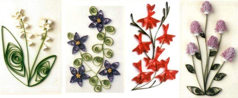 Разные примеры изготовления квиллинг цветов