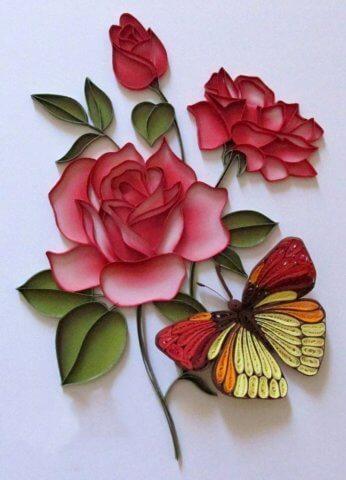 Готовый букет квиллинг роз