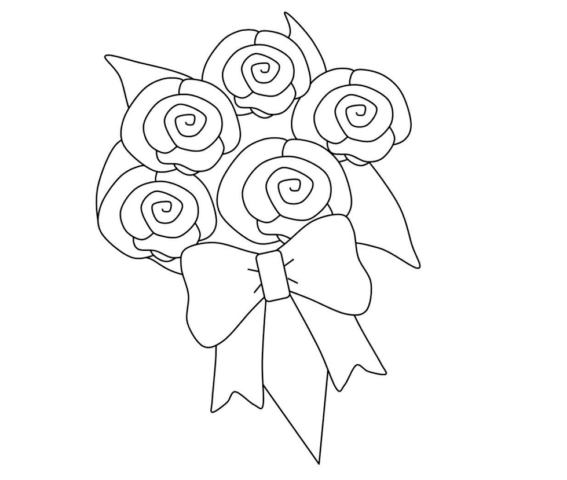 Схема шаблон бумажного букета цветов
