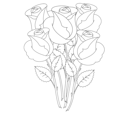 Схема шаблон бумажного букета роз
